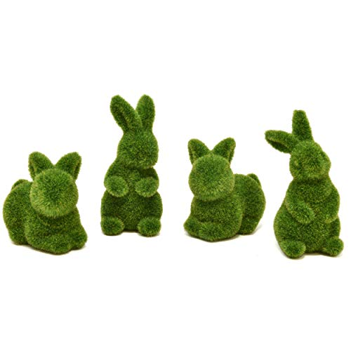 Gift Boutique 4 Green Fuzzy Flocked Bunny Easter Holiday Spring Decor Rabbit Figurines Garden Artificial Animal Moss for Indoor Table Home, Kitchen, Shelf Decorations Furry Covered Rabbits