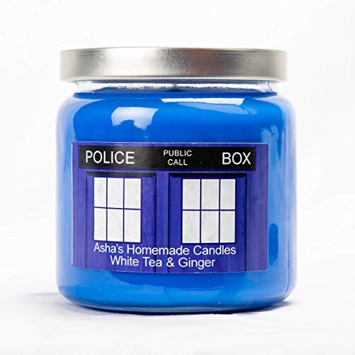 Doctor Who TARDIS Soy Candle White Tea and Ginger Scented (16 oz) Geek Gift Idea