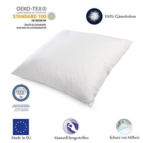 H&F Heimtextilien Premium Qualität | Kopfkissen 80x80 cm | Füllung: 1500 Gramm Federn, Gänsefedern | 100% Natur Kissen | Bezug: 100% Baumwolle | Federkissen 80 x 80 cm | Oeko-TEX Zertifiziert