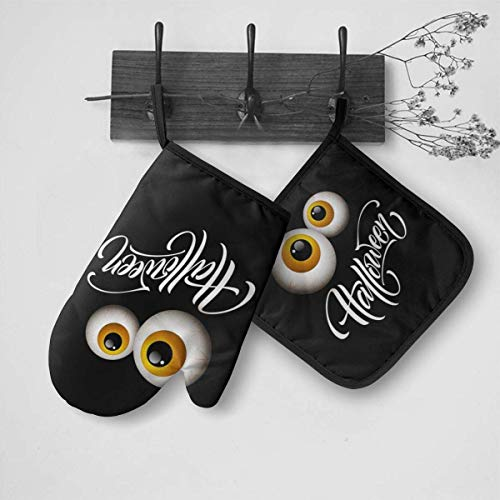 NAA Happy Halloween Hand Drawn Oven Mitts,Professional Heat Resistant to 500