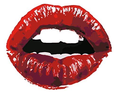 WDNEJKJH Pintura por Números Chica con Labios Rojos DIY Pintar por Numeros con Pinceles y Pinturas para Adultos Niños,DIY Conjunto Completo de Pinturas para el Hogar - 40x50 cm (Sin Marco)