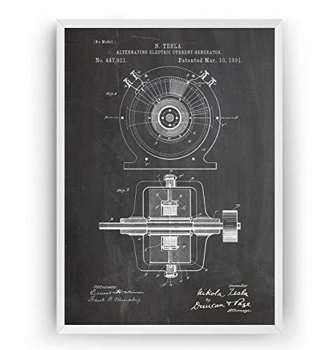Nikola Tesla 1891 Patent Poster - Alternierender elektrischer Stromgenerator Ingenieurwesen elektrisch Ingenieur Wissenschaft Mauer Art Zeichnungen - Rahmen nicht enthalten
