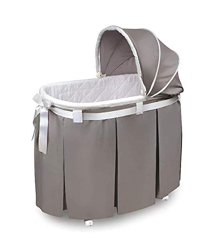 Great Features Of Oval Rocking Baby Bassinet with Bedding, Storage, and Pad Solid Gray