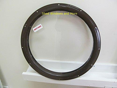 "Round Shed Window, Brown Small 16"" Round Window, Playhouse Round Window"