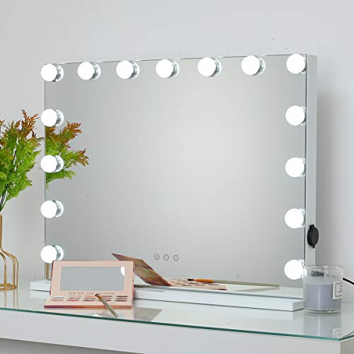 OUO Hollywood Mirror Lights for Makeup Dressing Table Lighted Vanity Mirror with 15 Dimmable LED Bulbs, Cosmetic Mirror with USB Port, Tabletop or Wall-Mounted, 58 x 46 CM