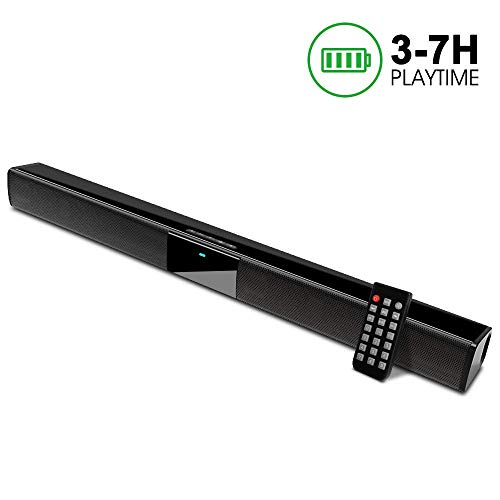 Sound Bar, 22-Inch Speaker for Tv Sound Bar 2.0 Channel Wired Wireless Bluetooth with Built-in Batteries, Best for Indoor Outdoor Use