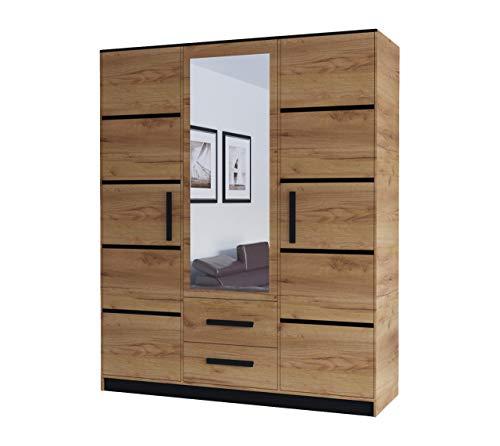 KRYSPOL Drehtürenschrank Malta 153 Garderobenschrank, Kleiderschrank mit 3 Türen, 2 Schubladen und Spiegel, Modern Design (Eiche Kraft Gold/Eiche Kraft Gold + Schwarz)