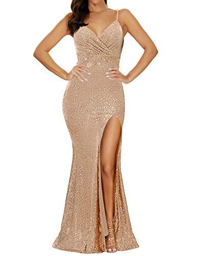 Women's Spaghetti Strap High Waist Split Sequin Formal Dress Gown Evening Dress