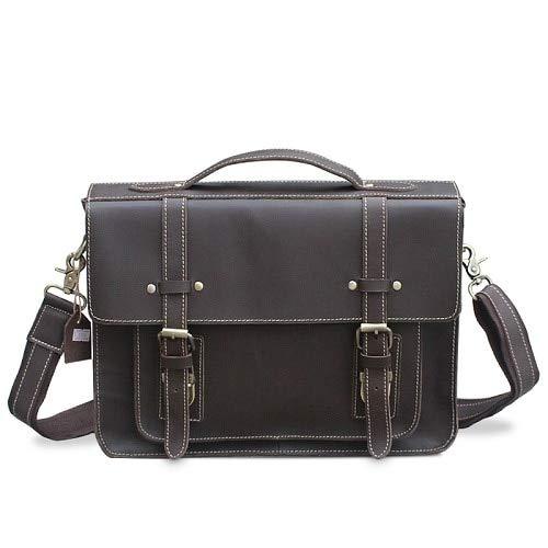 QSGNR Aktentasche Männliche Echtes Leder Laptoptasche Messenger Bags Herren Umhängetasche Leder Handtaschen Aktentasche Für Dokumente F3 Kaffee