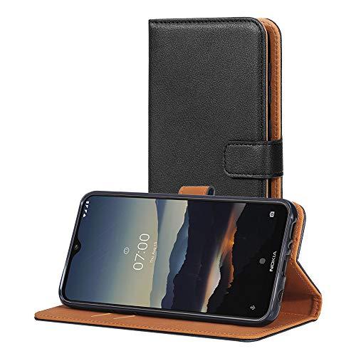 AICEK Hülle Kompatibel mit Nokia 7.2 / Nokia 6.2, Lederhülle für Nokia 6.2 Schutzhülle PU Leder Klapphülle mit Kartenfach Ständer Magnet Funktion Schwarz (6,3 Zoll)