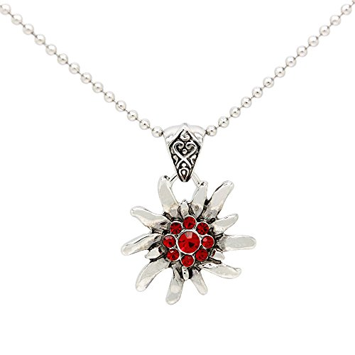 Alpenmode Trachtenkette Blume viele versch. Farben in Sachen Trachtenschmuck Dirndl kette Edelweiss (Rot)