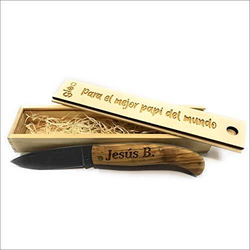 NAVAJA MADERA OLIVO PERSONALIZADA CON TU NOMBRE. Incluye estuche personalizado de madera.