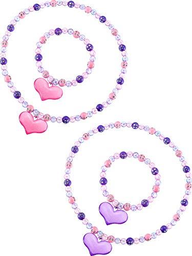 Zhanmai Necklace Bracelet Jewelry Set Boys Girls Lovely Princess Heart Shape Beads Necklace Set for Dress Up Jewelry Party (Sweet Style)