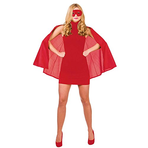 Super Hero Cape with mask - REDSUPERHERO LADIES FANCY DRESS COSTUME HEROINE SUPER WOMAN OUTFIT