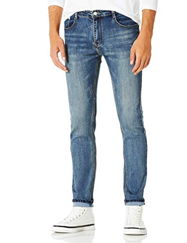 Demon&Hunter YOUTH Series Men's Skinny Slim Jeans DH8028,29W x 32L,Indigo