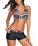 Zando Halter Bikini Set with Boyshort Push Up 2 Piece Swimsuit Bathing Suit for Women Pink Black Stripe US Size 6-8
