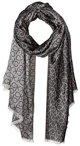 Calvin Klein Damen MONOGRAM LOGO PASHMINA Modischer Schal, schwarz, Einheitsgröße
