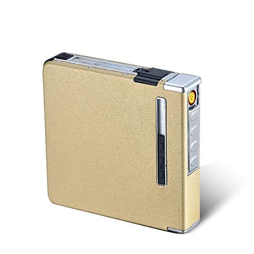 Sailormjy sigarettenbox, grote capaciteit sigarettenetui met aansteker, USB-oplader, sigarettendoosje, box, vlamloos, winddichte sigarettenaansteker met 20 sticks B