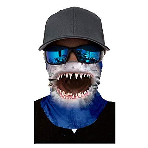 Seamless Face Mask| Bandana for Dust| Headband | Magic Scarf| Head Wrap| Windproof Neck Warmer| Neck Gaiter| Balaclava| Headwear | Animal Sweatband For Music Festivals, Raves, Outdoors (Shark)