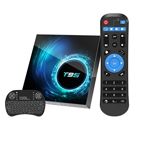 Android 10.0 TV Box, 4GB 32GB Smart TV Box T95 Allwinner H616 64bit Dual WiFi 2.4GHz/5GHz Bluetooth 5.0 6K Ultra HD/ 3D/ H.265 Ethernet with Mini Wireless Backlit Keyboard