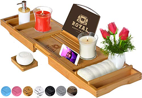 ROYAL CRAFT WOOD Luxury Bathtub Caddy Tray, One or Two Person Bath and Bed Tray, Bonus Free Soap...