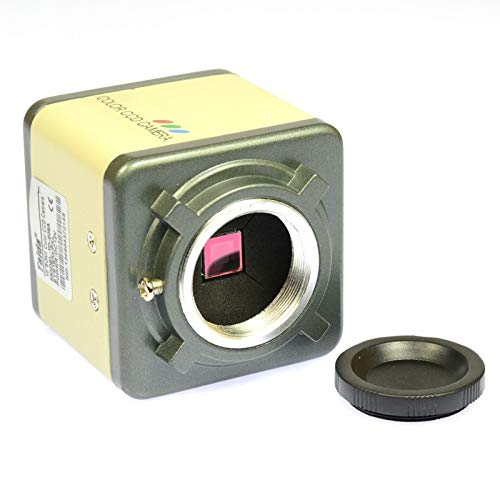 TANGIST 800TVL 1/3' CCD Digital Industry Microscope Camera Set CS & C-Mount Lens Support BNC Color Video Output F SMD BGA PCB Soldering for Natural Observation/Part Inspection (Color : Yellow)