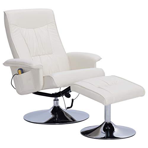 vidaXL Sillón de Masaje Reclinable y Reposapiés Cuero Sintético Descanso Muebles Interior Casa Hogar Diseño Estético Ergonómico Duradero Crema