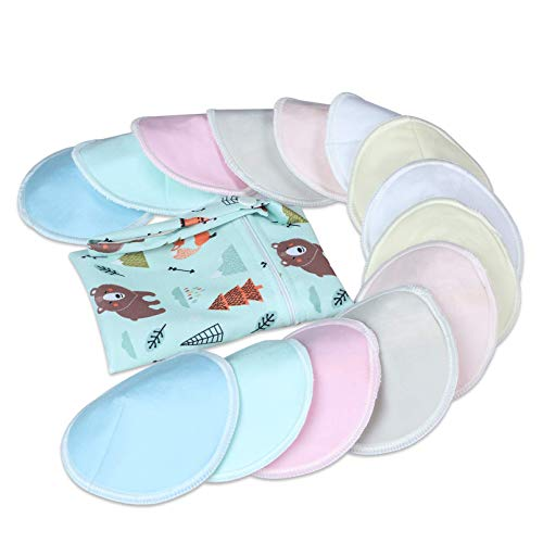 YOOFOSS Nursing Breast Pads 14 Pcs Reusable Organic Bamboo Breast Pads for Breastfeeding Washable Nipplecovers for Maternity with Carry Bag - 4.7 inch