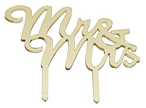 "Gold Monogram Wedding Cake Topper - Mr & Mrs Golden Monogrammed Silhouette Acrylic Topper For Anniversary - Shiny, Elegant & Stylish Cake or Cupcake Décor Accessory Letter Toppers - Large 7"" x 6"" Size"