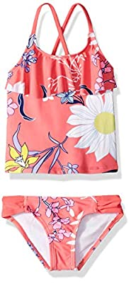 Kanu Surf Girls' Big Charlotte Flounce Tankini Beach Sport 2-Piece Swimsuit, Paige Coral Floral, 8