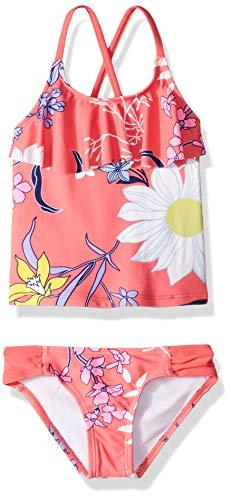 Kanu Surf Girls' Big Charlotte Flounce Tankini Beach Sport 2-Piece Swimsuit, Paige Coral Floral, 8