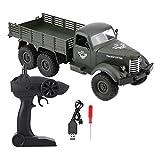 Dilwe RC Camion Militaire, 1/16 6WD Camion à télécommande modèle Jouet Cadeau pour Enfants (Vert)