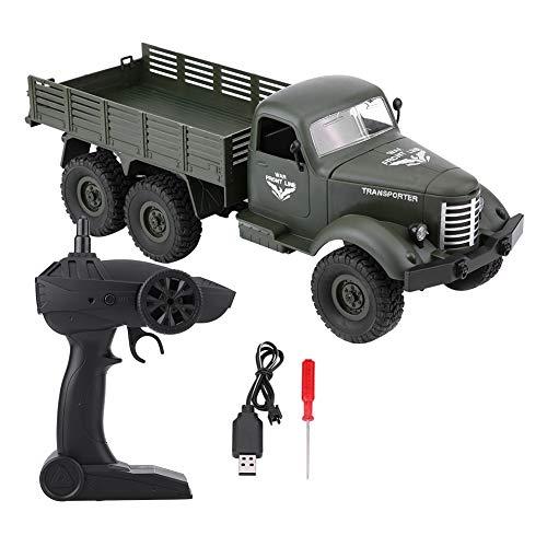 Dilwe Camion RC 1/16, Modello di Camion Militare Auto Giocattolo Telecomandata(Verde)
