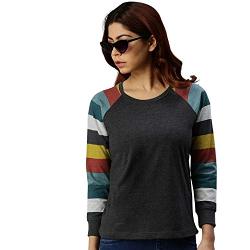 JUNEBERRY Women's Cotton Regular Fit T-Shirt (GL33_Anthra_110_PP_Multicolored_P)