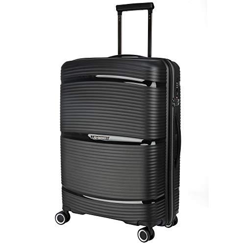 LUSHBERRY スーツケース 大型 8輪 静音 防水ファスナー TSAロックキャリーケース 耐衝撃 超軽量 大容量 ビジネス 出張 旅行 … (ブラック, L)