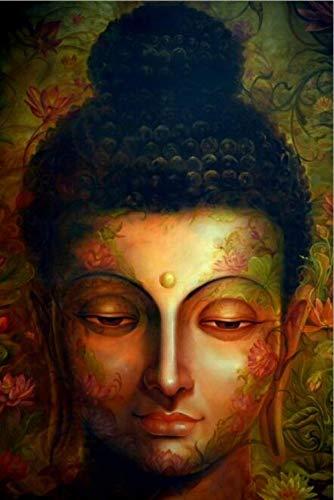 Cartel abstracto de la estatua de Buda Arte de la pared Pintura de la lona Impresión moderna Estatua de Buda Imagen Cartel budista Decoración de la sala de estar familiar-50X70cm_Unframed_DM464-5
