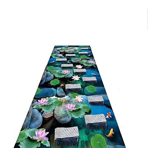 WYQ Runner Teppich-Foyer Eingang Hotel Korridor, Gummi zurück, 3D-Lotus-Teich-Muster Teppich, Can Be Cut, Maschine waschbar Größe angepasst Werden kann,80 * 400cm