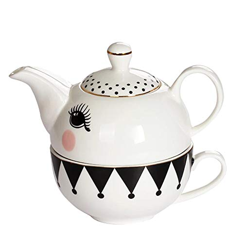 Fine Bone China Stacked Teapot and Cup Set for One with Lovely Design