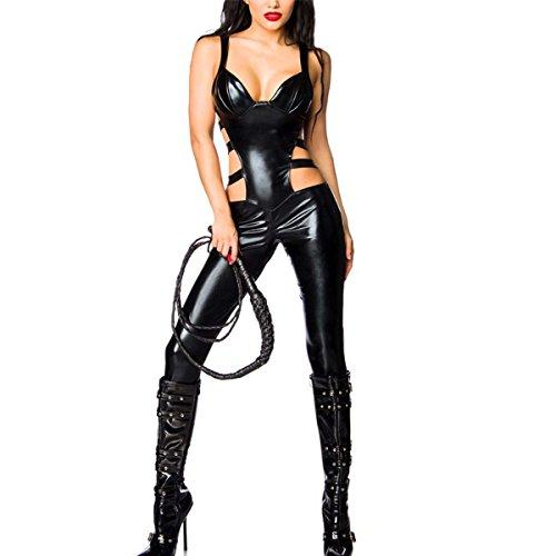 SSScok Leder Sexy Dessous Erotische Wetlook Bodysuit Sleeveless Clubwear Nachtwäsche