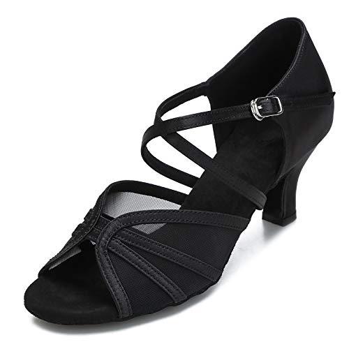 CLEECLI Women's Ballroom Dance Shoes Latin Salsa Dancing Shoes Cross Strap 2.5inch 3inch Heel ZB04(8,Black-2.5 Inch Heel)