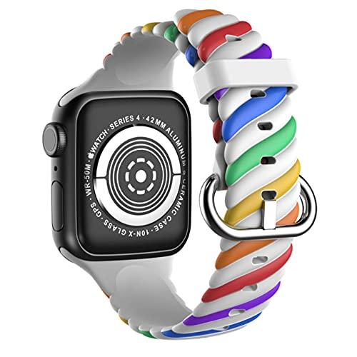 Correa de reloj de silicona para Apple Watch, brazalete deportivo de color para iWatch Series SE / 6/5/4/3/2/1-Rainbow blanco, para 42 mm 44 mm