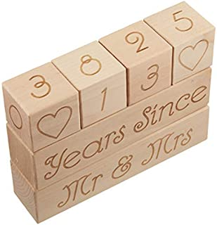 Wedding Countdown Calendar (Wooden Blocks) - Unique & Funny Engagement Gift for Couples: Bride to Be or Fiance. Perfect for Bridal Shower and Engagement Party