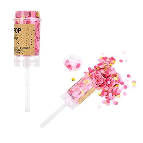 Agatige Confetti Popper, Cañón de Confeti de Papel Multicolor Push Pop para Fiesta, Boda, cumpleaños, graduación(Rosado2)