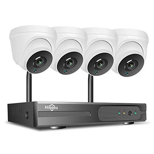 KKmoon Kits de Vigilancia, 4CH NVR + 4PCS 3MP HD Cámara WiFi Impermeable, Kits de Seguridad Soporta Detección de Movimiento, Acceso Remoto, Visión Nocturna, Audio Unidireccional, sin Disco Duro