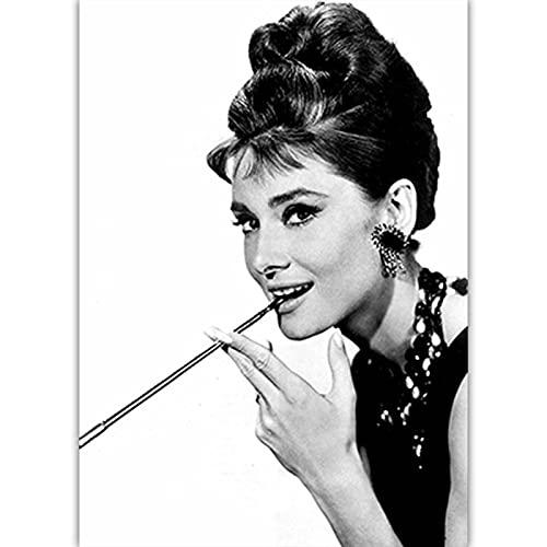 Czarno-biała sztuka fotograficzna Audrey Hepburn obraz na płótnie Nordic plakaty drukuj Salon Home Decor C9 50 × 70 CM bez ramki