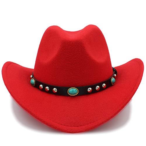 Fang-hats shop, Sombreros de Mujer, Sombrero de Vaquero Jazz Sombrero de Moda de Llegada Sombrero de Vaquero para Mujeres Fiesta Disfraces Vaquera Roll Up Sombrero, Rojo, 57-58 cm
