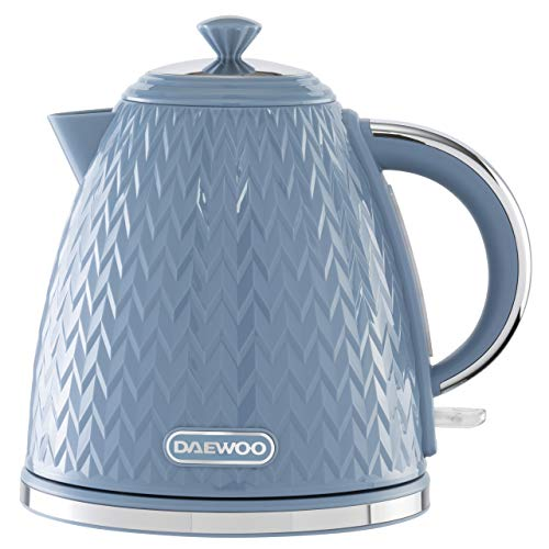 Daewoo SDA1822 Argyle 1.7L Plastic Removable & Washable Limescale Filter Lid Opening, Auto/Manual Switch Off Options (220-240V/50-60Hz/3KW) Concealed Heating Element, Blue Kettle