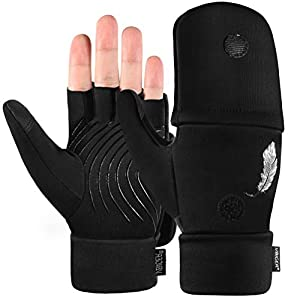 VBIGER Winter Fingerless Gloves Mens Anti-slip Touch Screen Gloves Convertible Sport Gloves Running Hiking Driving Cycling
