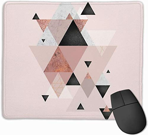 N/A Blush Pink Geo Gaming Mouse Mat Pad Mouse Mat Non-Slip Rubber Base Surface for Computer PC Keyboard and Desk