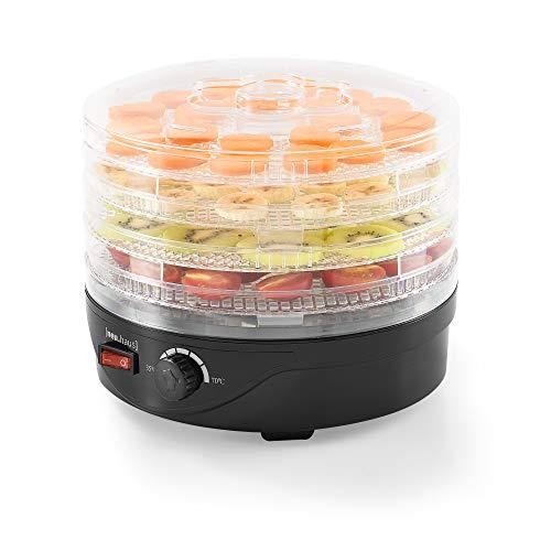 [Neu.Haus]®] Déshydrateur de Fruit et Légume avec 4 Étages Food Dryer 24 x 17-19,5 cm Plastique Noir